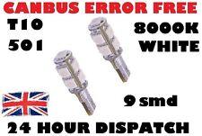 2 x 8000K ERROR FREE CANBUS W5W T10 501 LED lato LAMPADINA 9 SMD Xenon Bianco