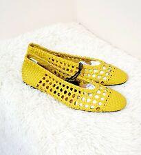 Zara New Yellow Braided Flats Faux Leather Shoes Uk 6 Eu 39