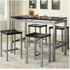 Pub Table Set 5 Piece Dining Counter Height Bar Stools Dinette Kitchen  Furniture