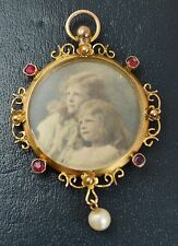 Chester 1907 Antique 9ct YELLOW GOLD Unusual DOUBLE SIDED Glass PHOTO LOCKET