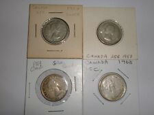 """-CANADA- 4 SILVER """" 25 CENTS """" COINS-1957,1958,1964 & 1968 - QE II -KM#52/62a-VF"""