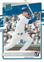 2020 Nico Hoerner RC Donruss Rated Rookie #38 Chicago Cubs Rookie Baseball Card