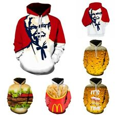 3D Unisex Hoodie Food French Fries Beer Hamburger Sweatshirt Pullover Jumper Top
