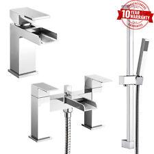 Waterfall Square Open Spout Basin Mixer Tap & Bath Shower Mixer & Rail Kit *ZB