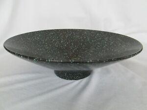 Vintage Haeger Pottery 1985 Modern Black Turquoise Speckle 3295 Centerpiece Bowl