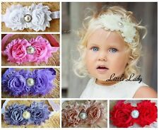 Christening Girl Baby Elastic Headband Flowers Roses Rhinestone Pearl Wedding