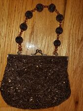 L@k! Bronze beaded Clutch Purse with strap
