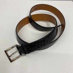 Celine Leather Belt Black Croc Embossed Silver Tone Metal Buckle