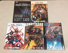 LOT OF 5 ULTIMATE X, IRON MAN I & II,THOR, HUMAN HARDCOVERS (75% OFF) $110 VALUE