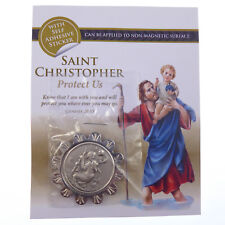 Catholic St. Christopher silver metal car plaque adhesive & magnetic 3.5cm