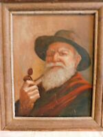 """Oil Or Acrylic Mounted On Cardboard Portrait """" Old Man With Pipe """" Anonymous"""