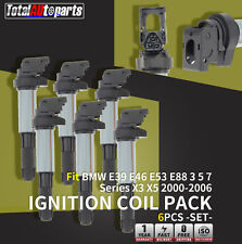 Set of 6 Ignition Coils Pack on Plug for BMW E39 E46 E53 E60 E65 E66 M54 N62