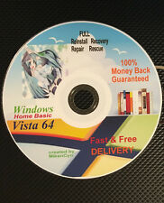 WINDOWS Vista Home Basic 64bit Restore ReINSTALL Recovery Rescue Disc wHD