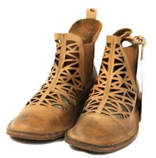 Ladies Mou Boots Chelsea Bronze Leather Shoes Laser cut Size UK 8 MO4