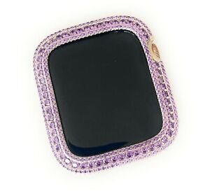 Silver Apple Watch Band &/or Amethyst Zirconia Bezel Case Face Cover 40/44 mm
