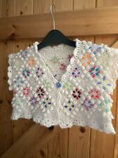 "New Hand Made Gorgeous Floral Gilet Bolero Waistcoat Chest 26"" 6-8 Yrs White"