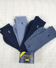 NWT 4 X PAIRS POLO RALPH LAUREN MEN BLUE CREW RIBBED LONG SOCKS.