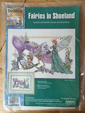 Cross Stitch Kit  -  FAIRIES IN SHOELAND  by  JANLYNN   with Metallics    03-133