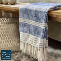 Luxury Large Soft Deep Classic Blue Checked Fringed Sofa / Bed Blanket Throw
