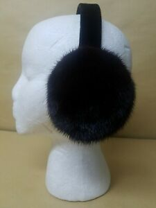NEW REAL BROWN MINK FUR EARMUFFS  MADE IN USA