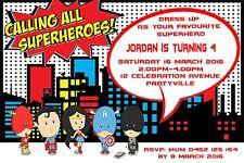 Printable Invite Personalised SUPERHERO Batman Superman PARTY Invitation JPEG