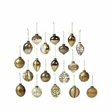 Winter Lane Set of 20 Assorted Goldtone and Clear Glass Ornaments  GORGEOUS!!