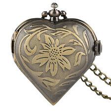 Girl Women Lover Gift Retro Heart Shape Pocket Watch Quartz Bronze Necklace