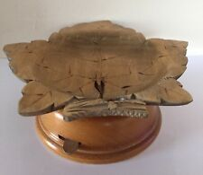 Vintage Wooden Leaf Design Cuendet Swiss Musical Trinket Dish / Bowl