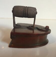 Brass Vintage Steam Iron India Coal Model Ash Tray Wooden Handle