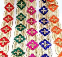 Stunning Indian Trim Colourful Lace Ribbon Sewing Craft Sari Border by 1 Yard
