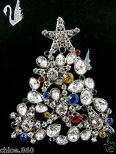SIGNED SWAROVSKI PAVE' CRYSTAL  CHRISTMAS TREE  PIN~ BROOCH RETIRED NEW