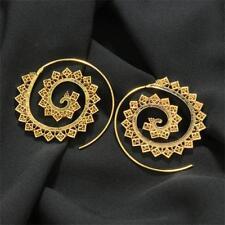 Aretes Espiral latón tribal redondo aro Geometría pendientes joyería Earrings