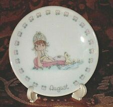 Vintage Precious Moments Porcelain Birthday Plate w/ Stand August Collectible