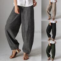 UK Womens Wide Legged Zipper Harlan Trousers Casual Loose Harem Pants Oversized