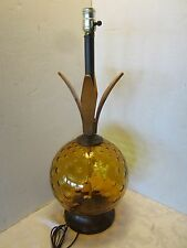 "Mid Century Coin Dot  ambe 10"" glass Ball table lamp Danish Retro Vtg"