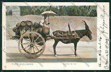 Palermo Costumi Siciliani Carretto Vino cartolina QQ0804