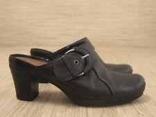 Clarks Artisan Black Leather Shoes Women's Size US 7 M Mules Clogs Block Heels