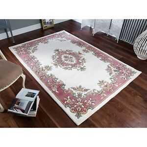 Royal Aubusson Cream Rose Pink Wool Rug in various sizes half moon and circle