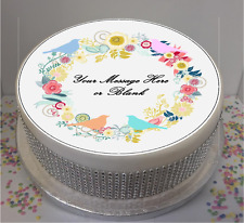 "Novelty Personalised Flowers & Birds Shabby Chic  7.5"" Edible Icing Cake Topper"