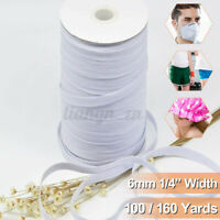 100/160 6mm Yards Length DIY Braided Elastic Band Cord Knit Band Sewing 1/4 in