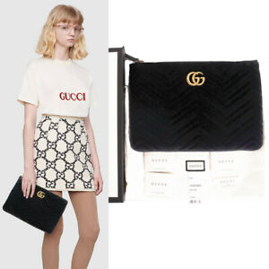 NEW $750 GUCCI Black Velvet Matelasse GG MARMONT LOGO Zip Pouch Clutch BAG NIB