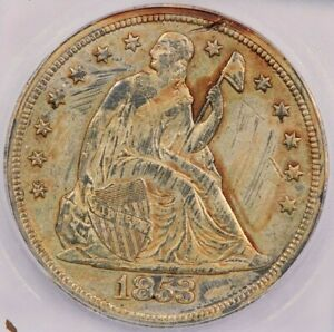 1853 Liberty Seated Silver Dollar ICG AU58 details