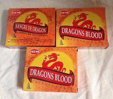 HEM Dragons Blood Incense Cones, 3 Packs of 10 Cones = 30 Cones