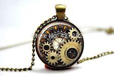 Cúpula de vidrio cabujón con colgante cadena Collar Gótico Steampunk Reloj Reloj COGS #01