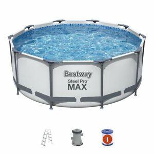 Bestway Swimming Pool Ø305x100 Steel Pro MAX Pool Rund Schwimmbecken mit Pumpe
