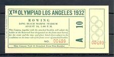 USA 1932 SUMMER OLYMPICS ---FULL TICKET= ROWING= UNFOLDED TOP CONDITION
