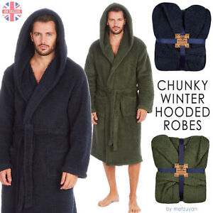 Mens Borg Hooded Robe Fluffy Warm Chunky Cosy Dressing Gown Navy & Olive M-XXL