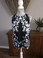 River Island Ladies Black Floral Top Size 10 Summer
