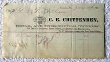 1875 BILLHEAD C E CHITTENDEN DRUGGIST SCRANTON PA RAILROAD SUPPLY #B4D
