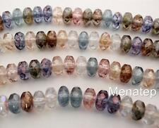 25 6 x 9mm Czech Glass Gemstone Donut Beads: Multicolor - Luster AB